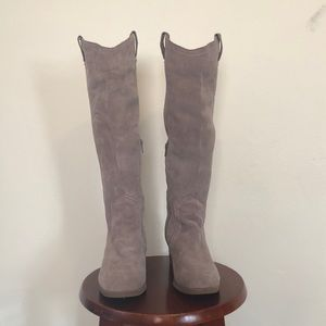 Gray Suede Tall Western Boot- With Box